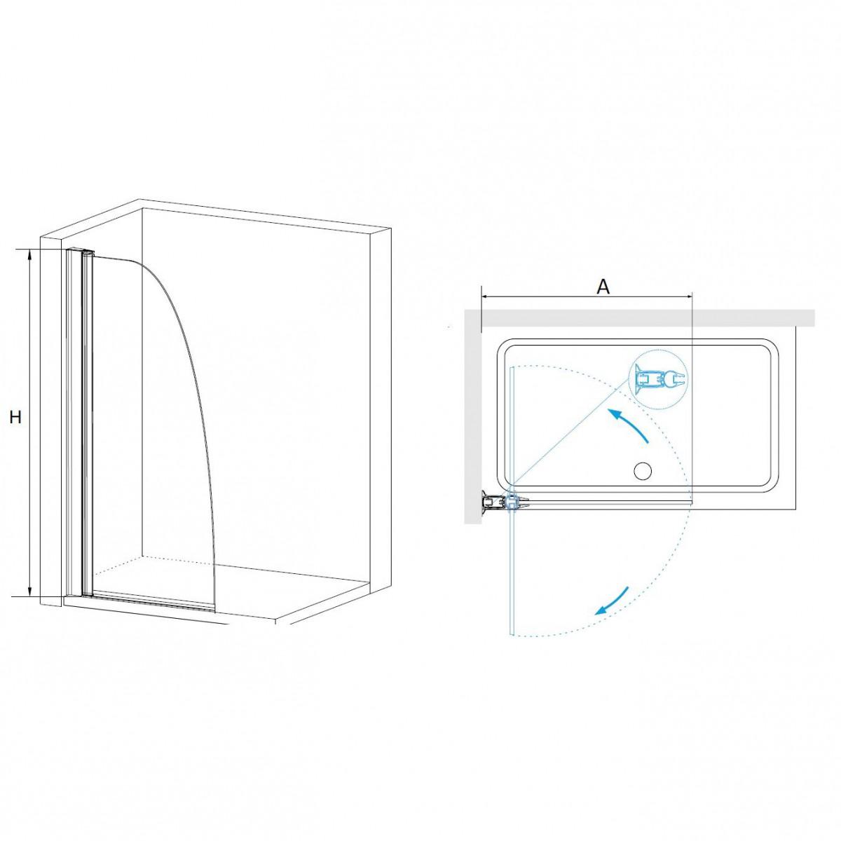 Перегородка для душа RGW WA-06 90 см, прозрачное стекло