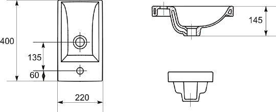 Тумба подвесная Vod-Ok Бридж 40 с раковиной Como (ручка рейлинг)