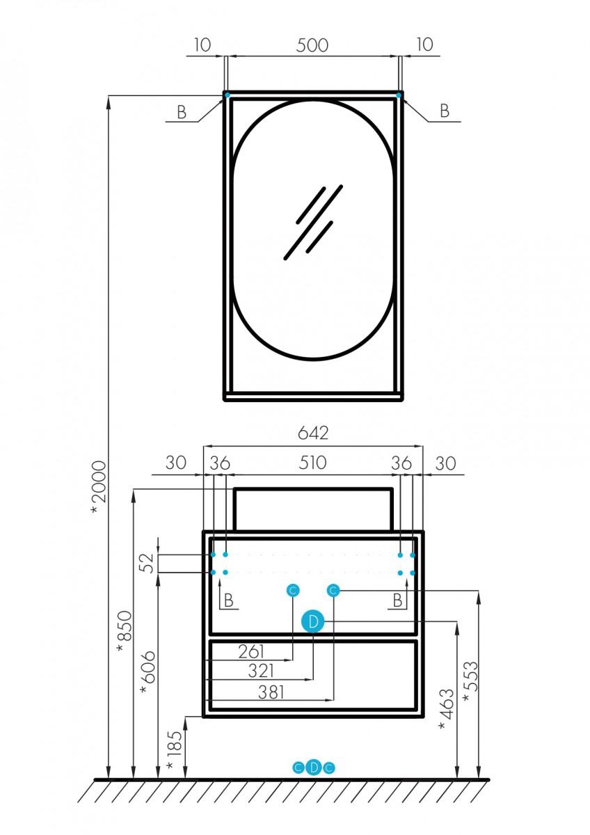 Тумба Акватон Лофт Фабрик 65 дуб эндгрейн с раковиной на столешницу Джой 3