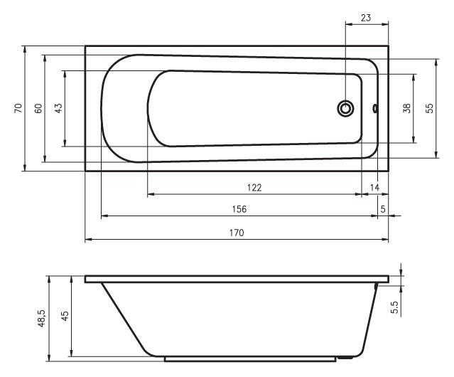 Акриловая ванна Riho Orion 170