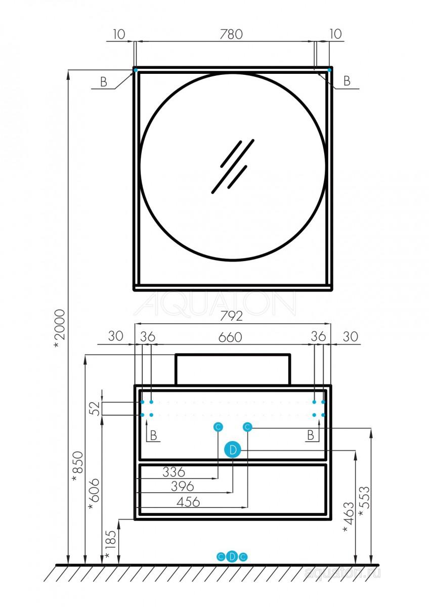 Тумба Акватон Лофт Фабрик 80 дуб эндгрейн с раковиной на столешницу Джой 3