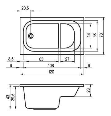Акриловая ванна Riho Petit 120