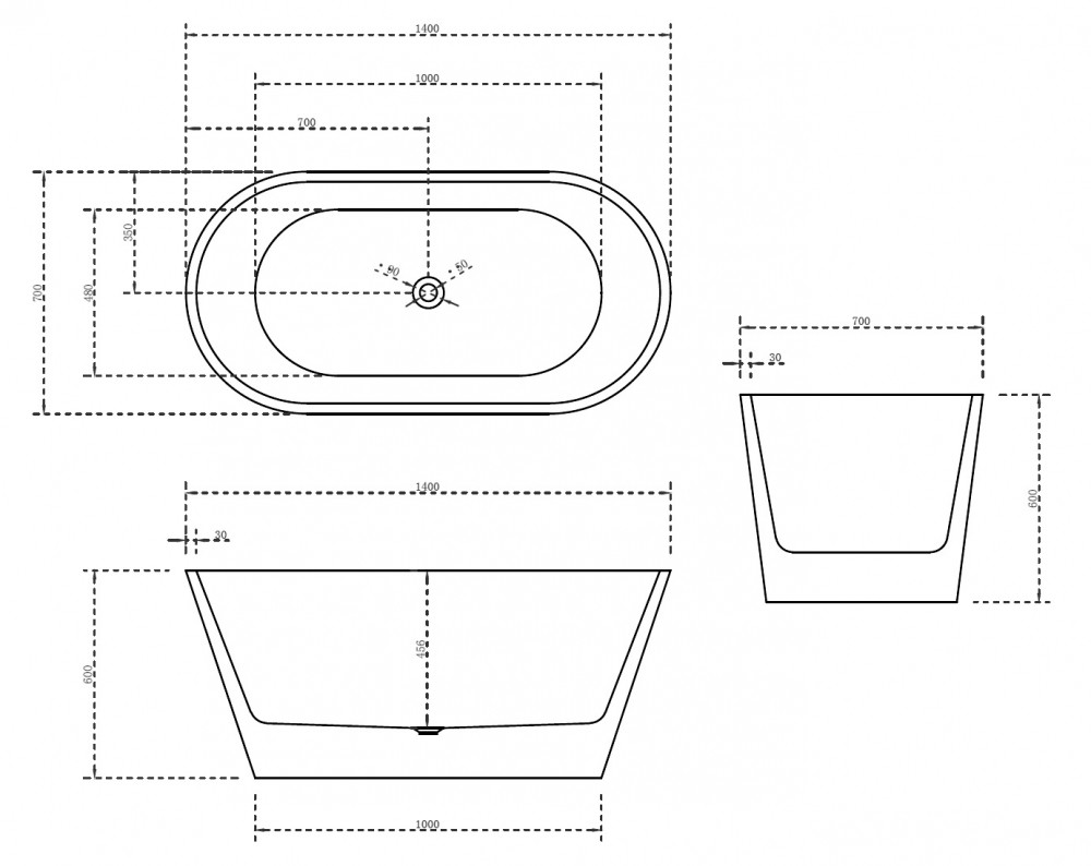 Акриловая ванна Abber AB9203-1.4