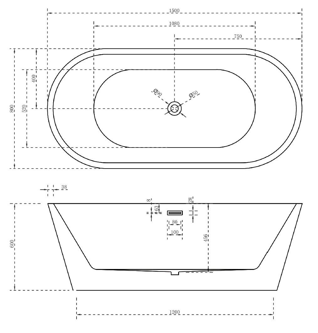 Акриловая ванна Abber AB9203-1.5