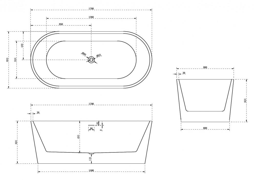 Акриловая ванна Abber AB9209B