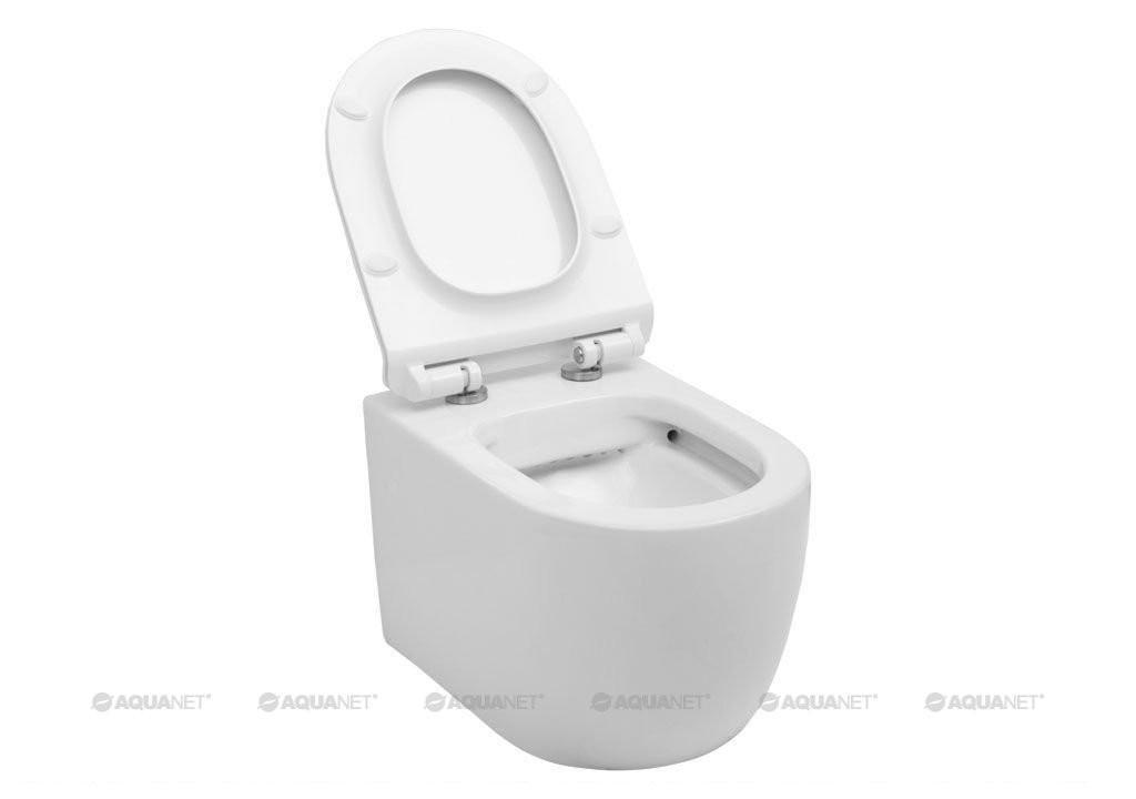 Подвесной унитаз Aquanet Rimless CETUS-W с сиденьем