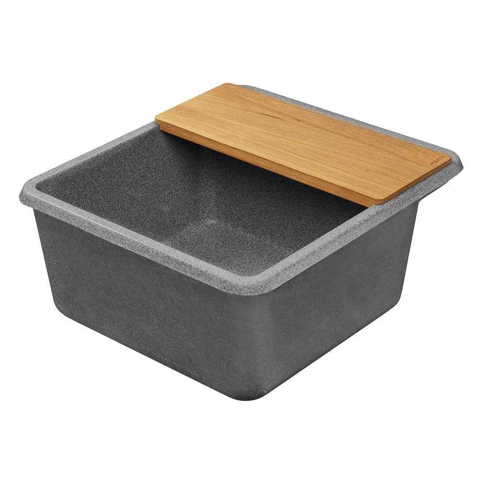 Мойка кухонная Акватон Беллис 57 серая из литого мрамора