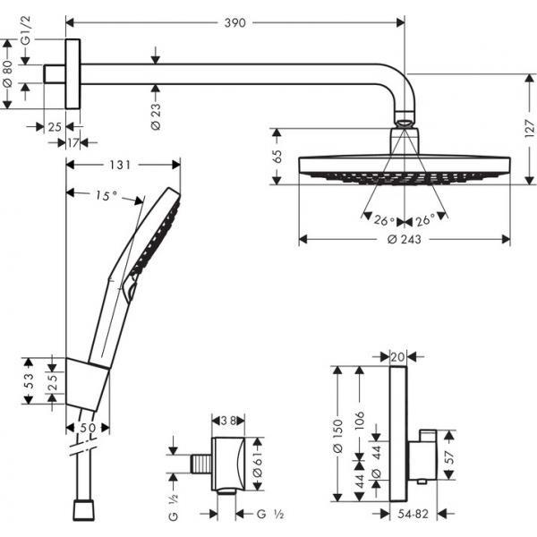Душевая система скрытого монтажа с термостатом Hansgrohe ShowerSelect S, хром 27297000