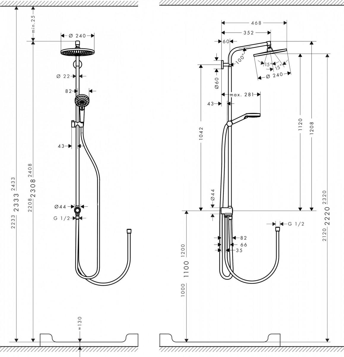 Душевая система hansgrohe Crometta S 240 1jet Showerpipe Rеno 27270000