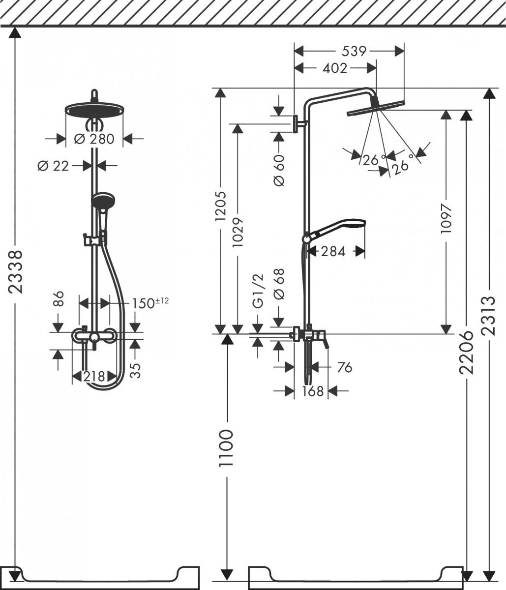 Душевая система hansgrohe Croma Select S Showerpipe 280 1jet с однорычажным смесителем 26791000