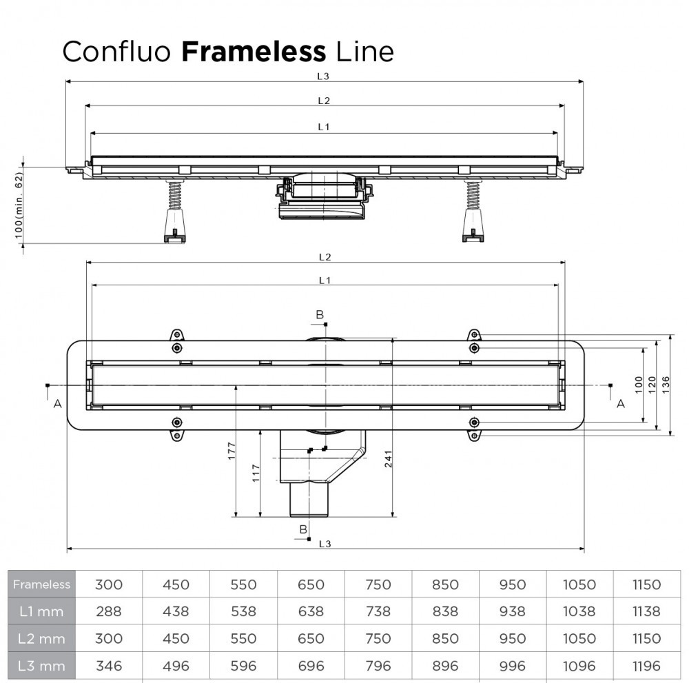 Душевой лоток Pestan Confluo Frameless Line 300